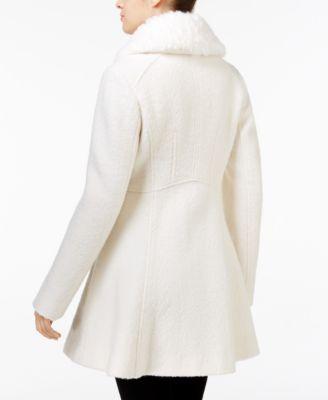 GUESS Faux-Fur-Collar Skirted Walker Coat