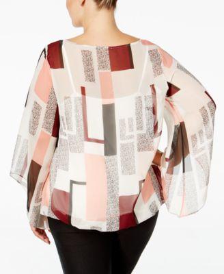 Alfani Plus Size Chiffon Angel-Sleeve Blouse