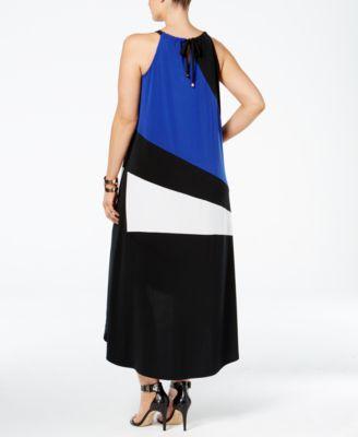 INC International Concepts Plus Size Colorblocked High-Low Dress