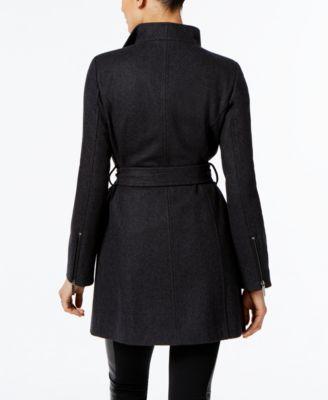 MICHAEL Michael Kors Faux-Leather-Trim Asymmetrical Coat