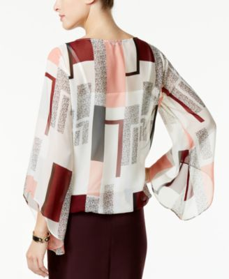Alfani Printed Angel-Sleeve Blouson Top