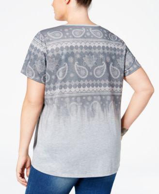 Style & Co. Plus Size Ombré Paisley-Print T-Shirt