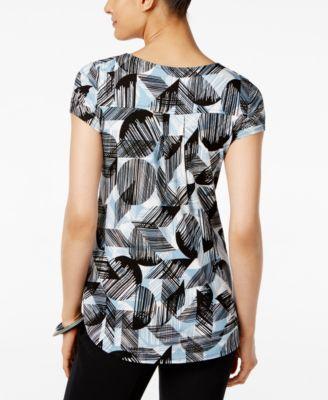 Alfani Printed Shirttail-Hem Top