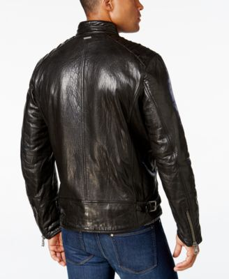 Andrew Marc Mens Boarder Evergrain Leather Moto Jacket