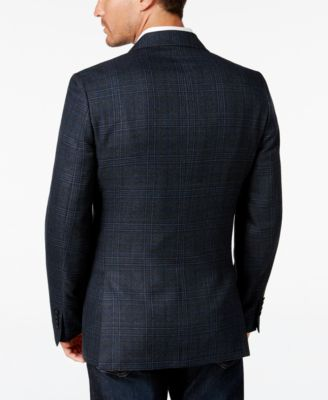 Tallia Mens Navy Plaid Sport Coat