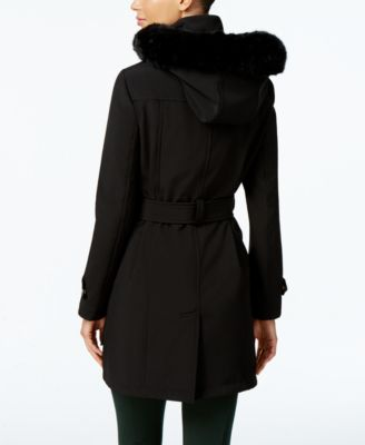 Ivanka Trump Faux-Fur-Trim Belted Coat