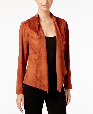 Inc International Concepts Draped Faux Suede Jacket