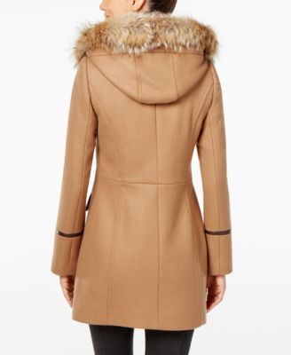 Trina Turk Coyote-Fur-Trim Wool-Blend Coat