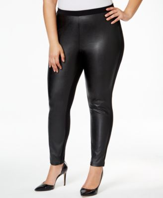 MICHAEL Michael Kors Plus Size Faux-Leather-Front Ponté Leggings