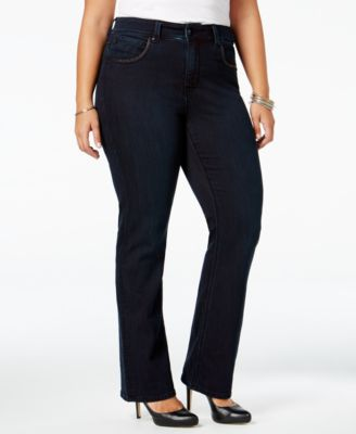 Melissa McCarthy Seven7 Trendy Plus Size Faux-Leather-Trim Jeans