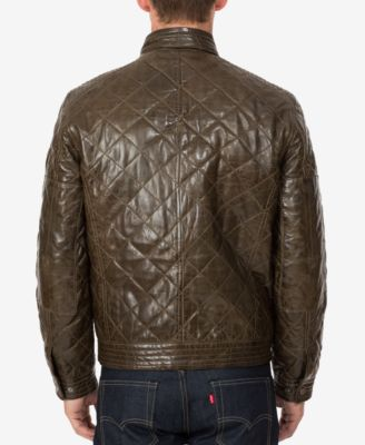 Boston Harbour Vintage Mens Quilted Leather Moto Jacket