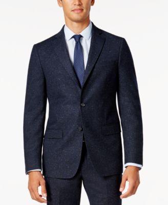 DKNY Mens Slim-Fit Blue Donegal Suit