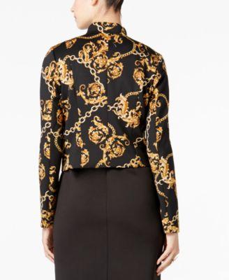 Thalia Sodi Chain-Print Cropped Blazer