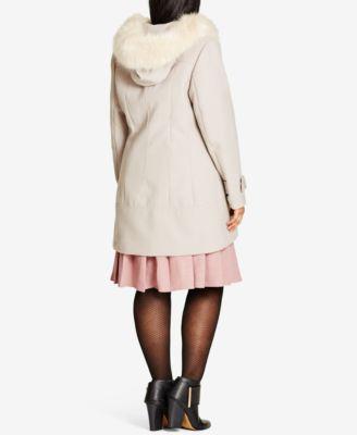 City Chic Trendy Plus Size Faux-Fur-Trim Coat