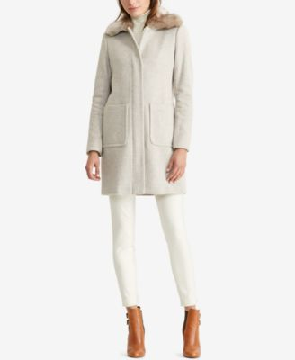 Lauren Ralph Lauren Faux-Fur-Trim Full-Zip Coat