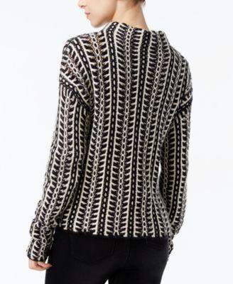 RACHEL Rachel Roy Patterned Mock-Neck Sweater
