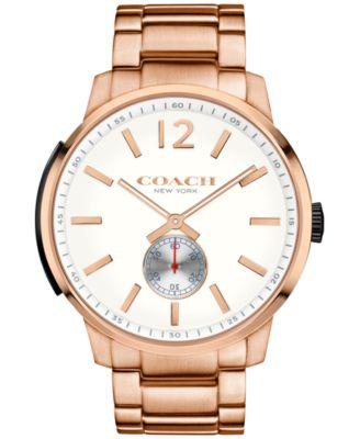 COACH Men's Bleecker Rose Gold-Tone Stainless Steel Bracelet Watch 46mm 14602079