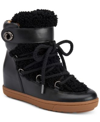 COACH Monroe Shearling Lace-Up Wedge Booties