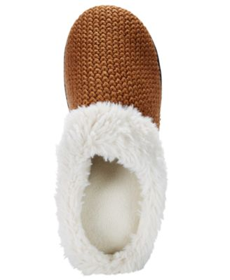 Isotoner Womens Chunky Knit Willow Hoodback Slippers