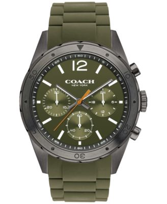 COACH Men's Chronograph Sullivan Sport Green Rubber Strap Watch 44mm 14602120
