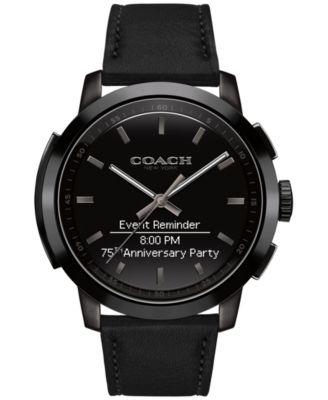 COACH Men's Bleecker Smart Black Leather Strap Smart Watch 44mm 14602335