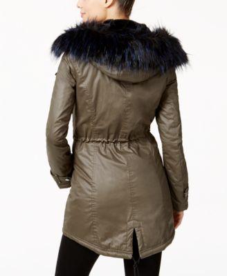 Laundry By Shelli Segal Faux-Fur-Trim Anorak Coat