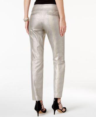 Alfani Petite Textured Straight-Leg Pa..