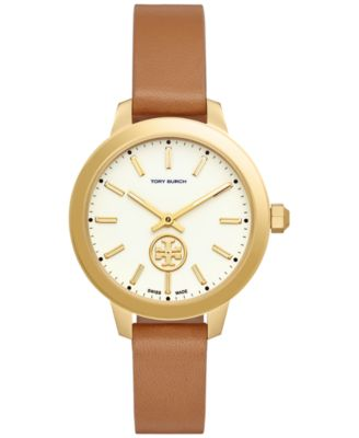 Tory Burch Womens Swiss Collins Light Brown Leather Strap Watch 38mm TB1202