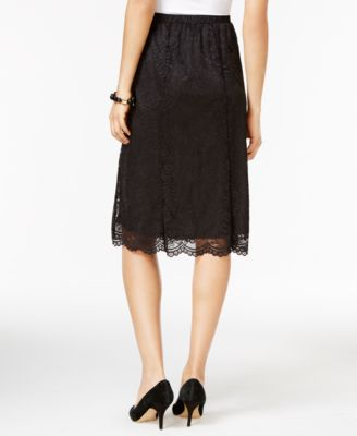 NY Collection Petite Lace A-Line Midi Skirt