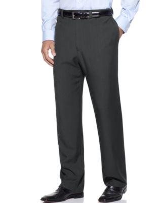 Haggar Mens Big & Tall Stria Classic-Fit ECLO Flat-Front Dress Pants
