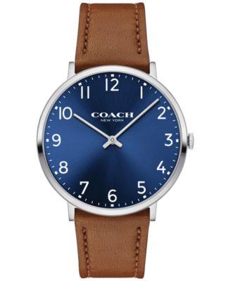 COACH Men's Slim Easton Brown Leather Strap Watch 40mm 14602127