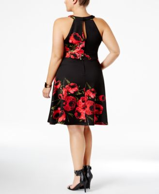 Love Squared Trendy Plus Size Floral-Print Fit & Flare Dress