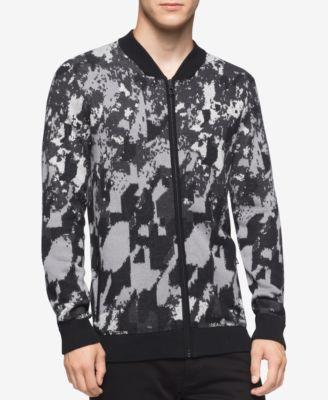 Calvin Klein Mens Abstract-Print Full-Zip Sweater