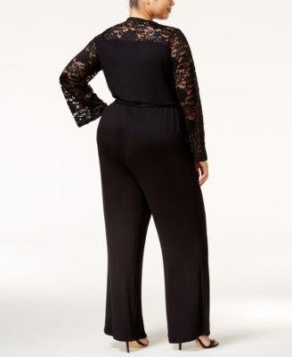 American Rag Trendy Plus Size Lace-Sleeve Jumpsuit