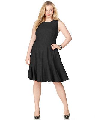 Calvin Klein Plus Size Pleated A Line Dress Women Macy 39 S