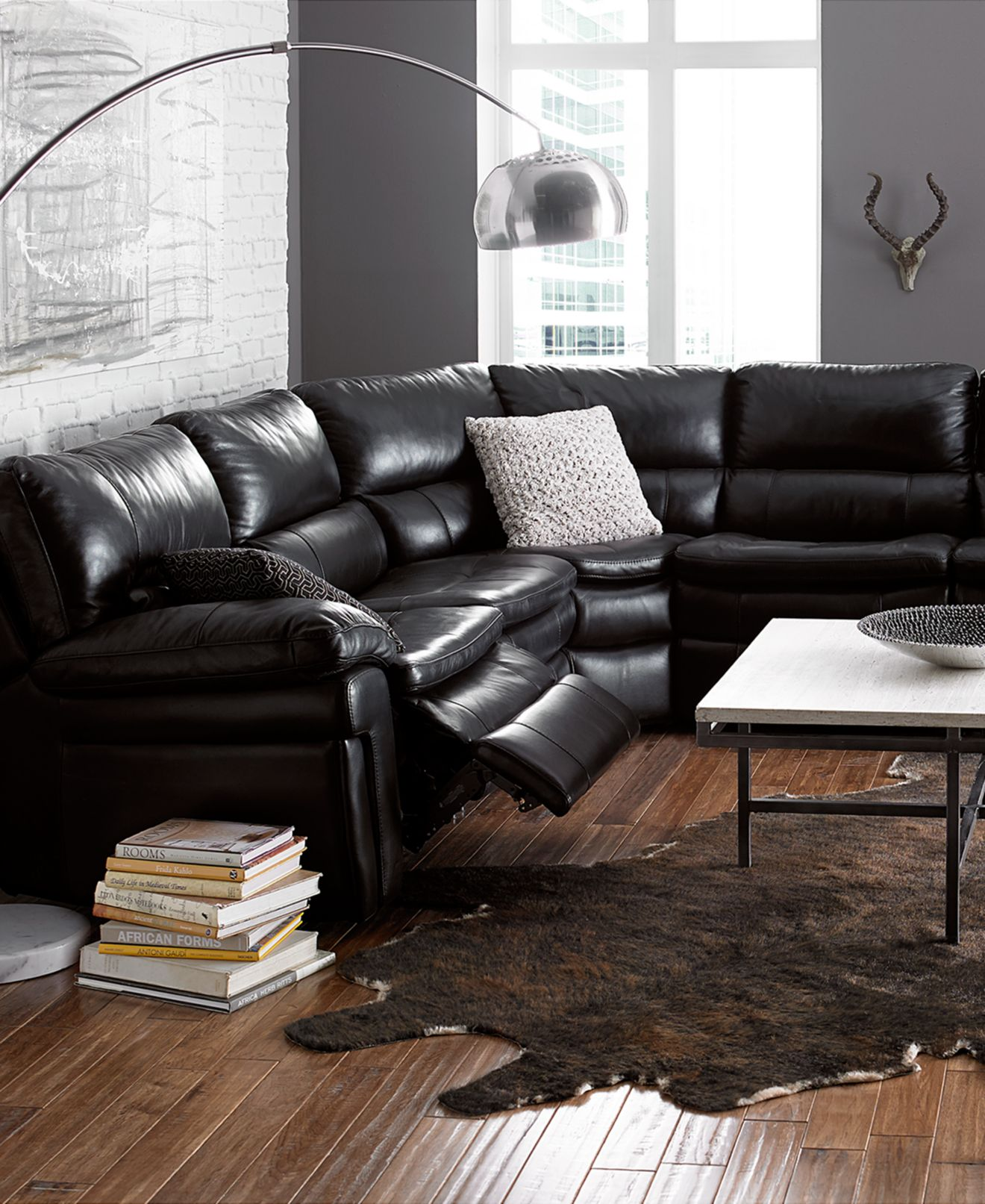 Francesca Leather Sectional Living Room Furniture Collection