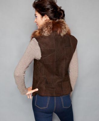 The Fur Vault Fox-Fur-Collar Shearling Vest