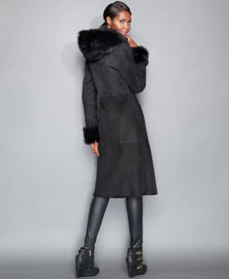 The Fur Vault Toscana Shearling Hooded..