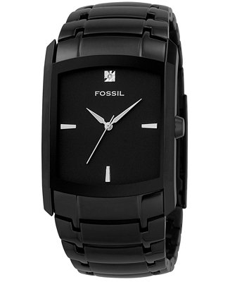 Fossil Watch Men S Diamond Accent Black Ion Plated