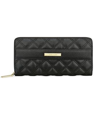 Anne Klein Shimmer Down Zip Around Wallet Handbags
