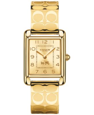 COACH WOMEN'S GOLD-PLATED ETCHED BANGLE BRACELET WATCH 32X24MM 14502160