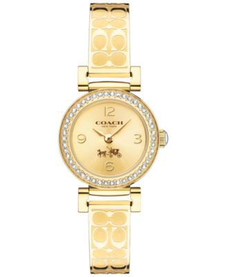COACH WOMEN'S SIGNATURE ETCHED GOLD-PLATED BANGLE BRACELET WATCH 24MM 14502202