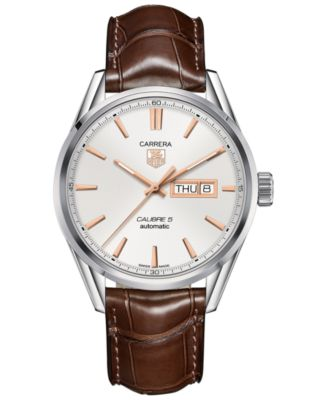 TAG Heuer Mens Swiss Automatic Carrera Calibre 5 Brown Leather Strap Watch 41mm WAR201D.FC6291