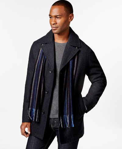 Perry Ellis Men S Big And Tall Wool Blend Scarf Coat