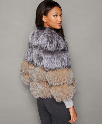 The Fur Vault Fox Fur Collarless Jacket