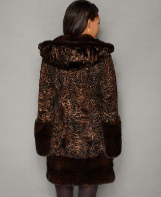 The Fur Vault Mink-Fur-Trim Hooded Persian Lamb Coat