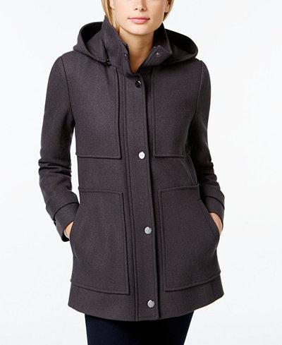 kenneth cole seamed hooded babydoll coat coats women. Black Bedroom Furniture Sets. Home Design Ideas