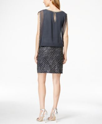 J Kara Chiffon Beaded Sequined Blouson Dress