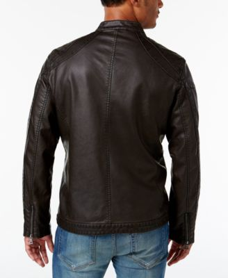 INC International Concepts Mens Faux Leather Zip-Front Moto Jacket