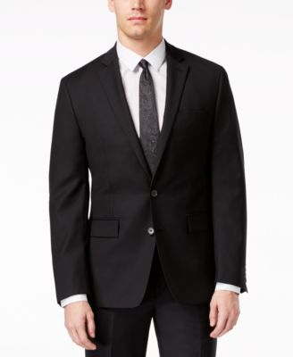 Ryan Seacrest Distinction Black Solid Slim-Fit Jacket